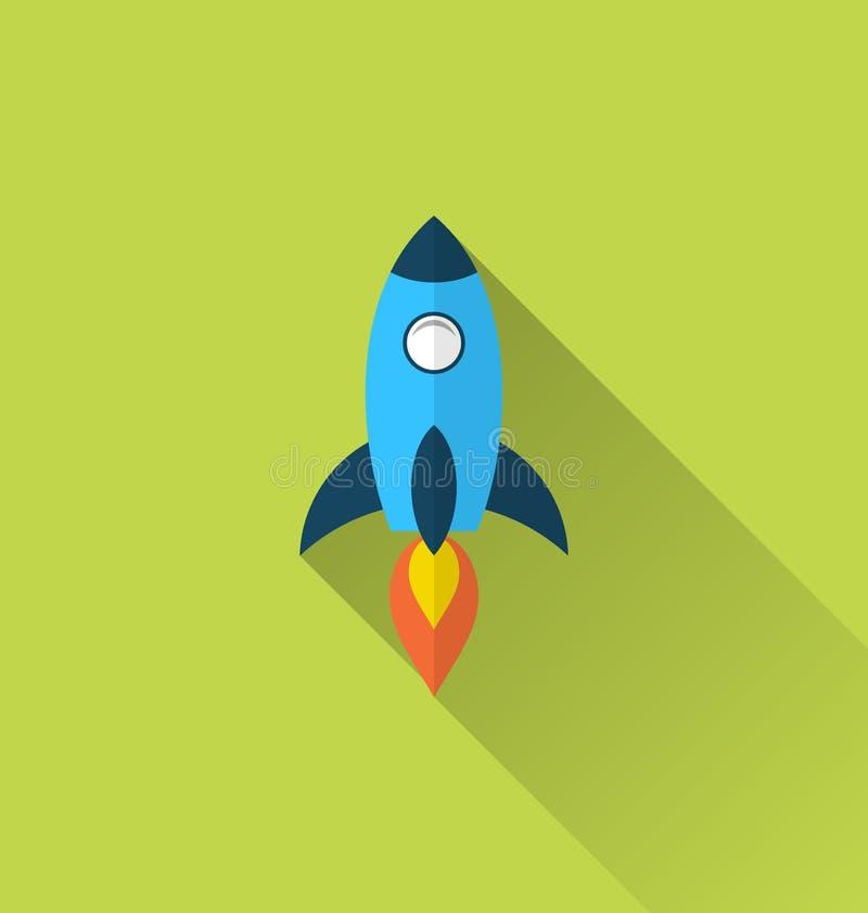 Icono plano del cohete con estilo largo de la sombra stock de ilustración