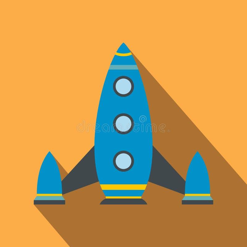 Icono plano del cohete de espacio ilustración del vector