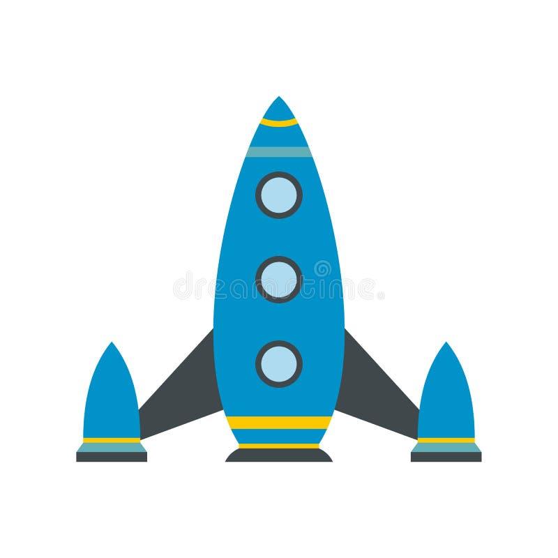 Icono plano del cohete de espacio stock de ilustración