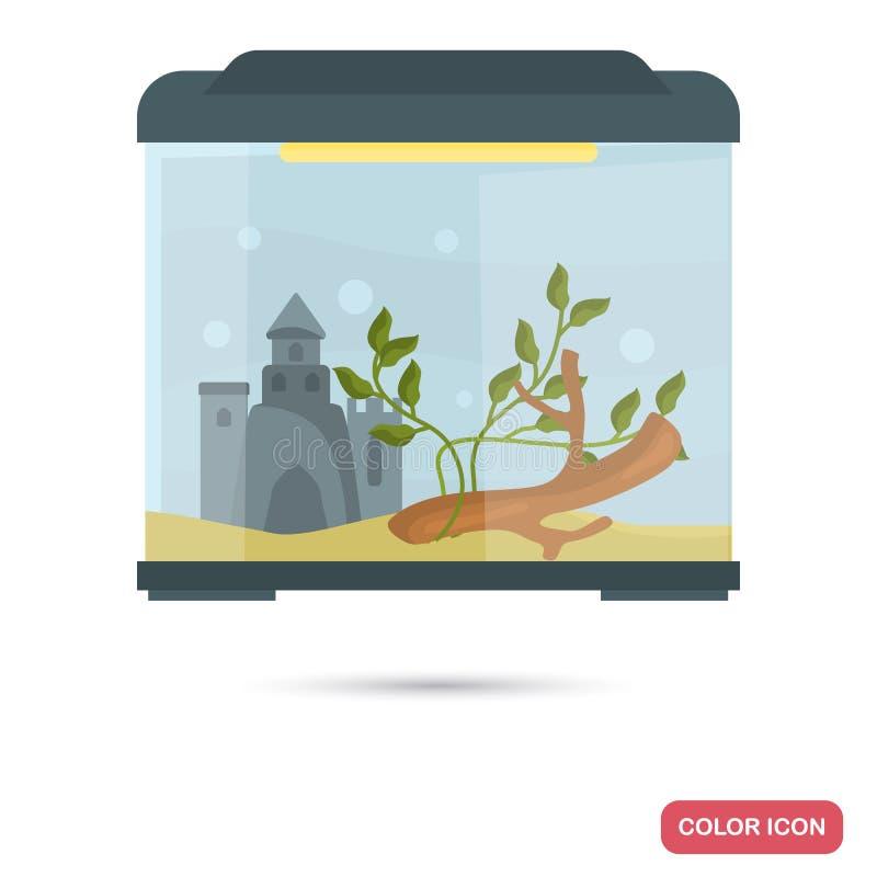 Icono plano del color del acuario ilustración del vector