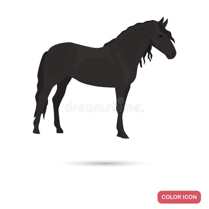 Icono plano del color andaluz del caballo libre illustration
