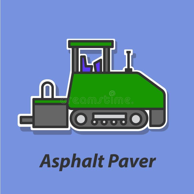 Icono plano del color de Asphalt Paver ilustración del vector