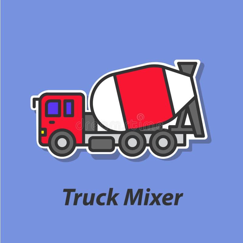 Icono plano del color del mezclador del camión libre illustration
