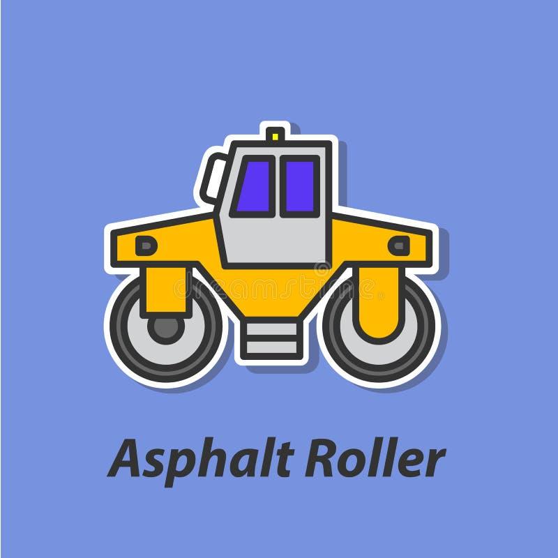 Icono plano del color del rodillo del asfalto stock de ilustración