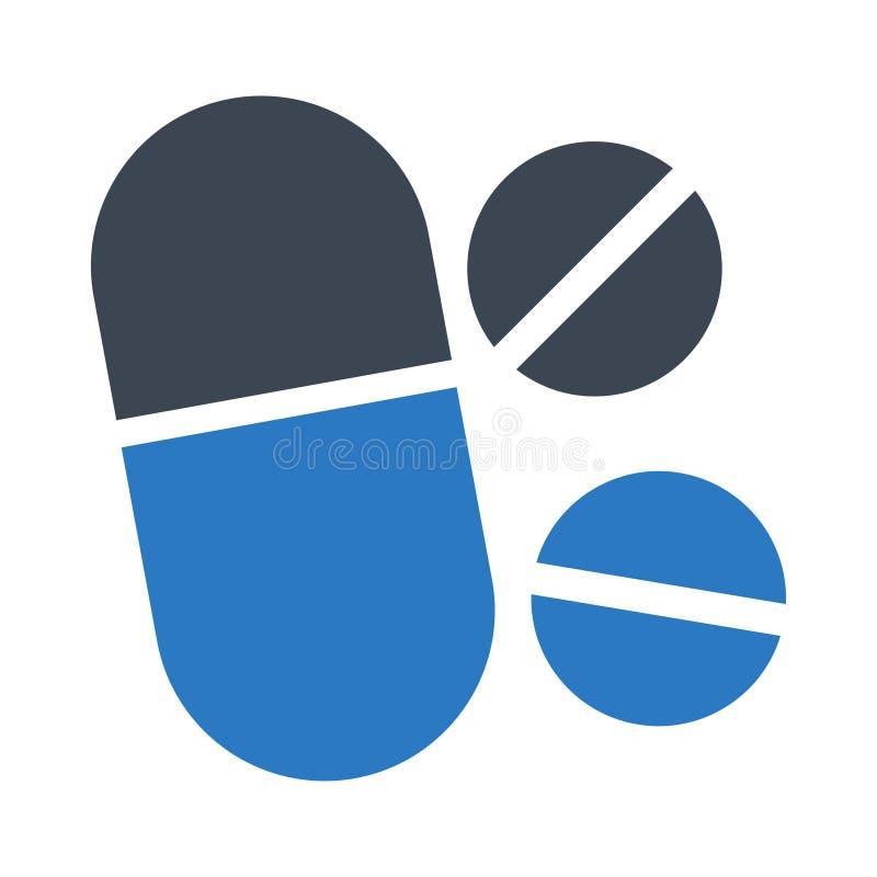 Icono plano del color del glyph de las medicinas libre illustration