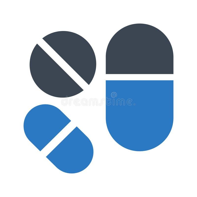 Icono plano del color del glyph de las medicinas ilustración del vector