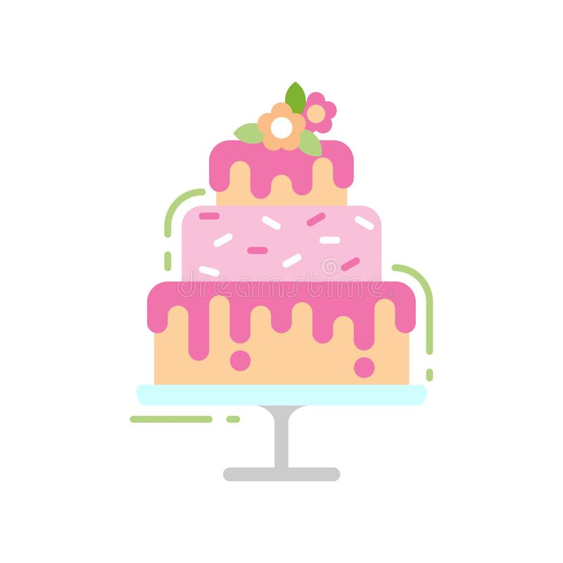 Icono plano del color del postre del pastel de bodas Concepto dulce del regalo ilustración del vector