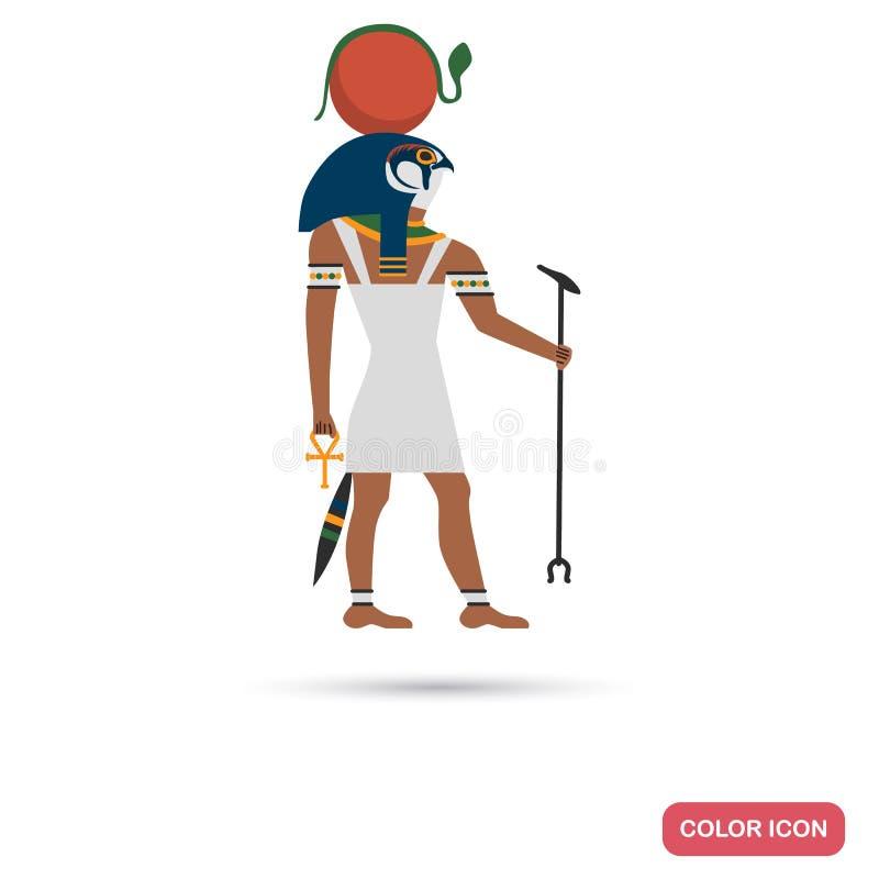 Icono plano del color del ra del Amon para el web y el diseño móvil stock de ilustración