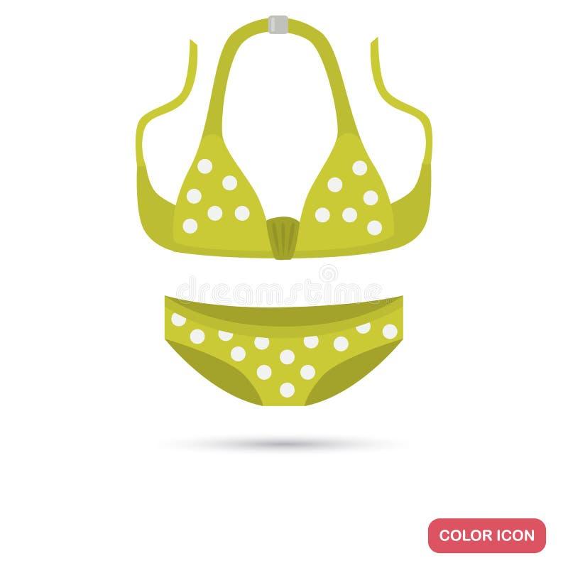 Icono plano del color del traje de baño del verano de la muchacha para el web y el diseño móvil stock de ilustración