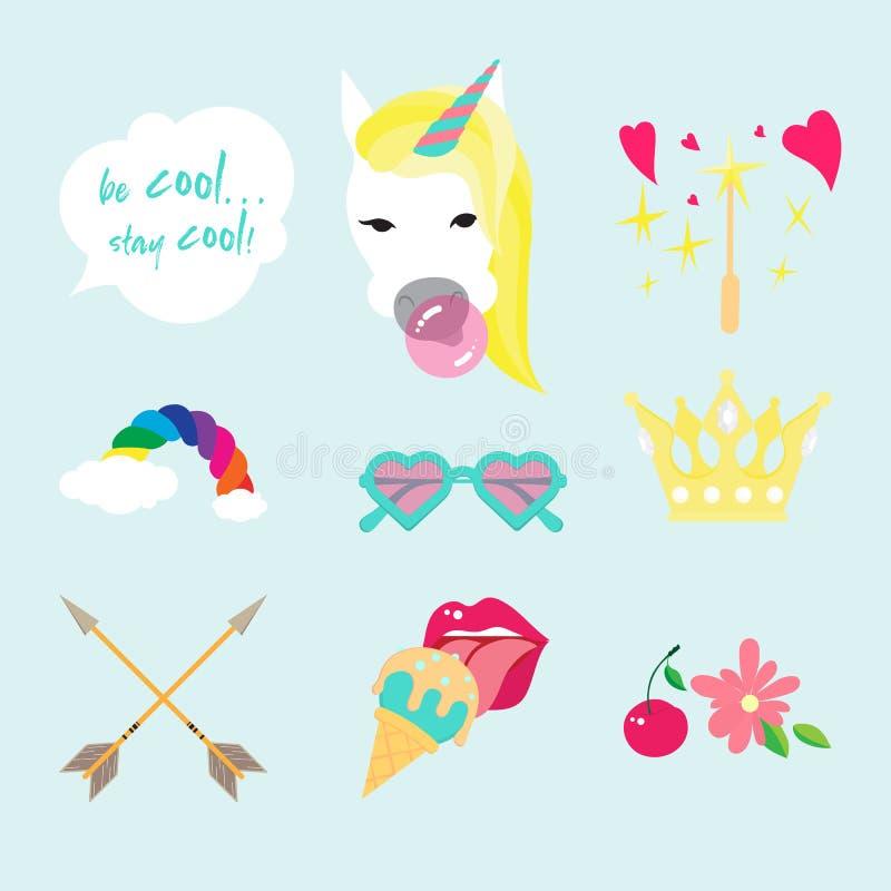 Icono plano del color del vector del unicornio aislado El estilo fijó con las flechas del boho, los corazones, las flores, los la stock de ilustración