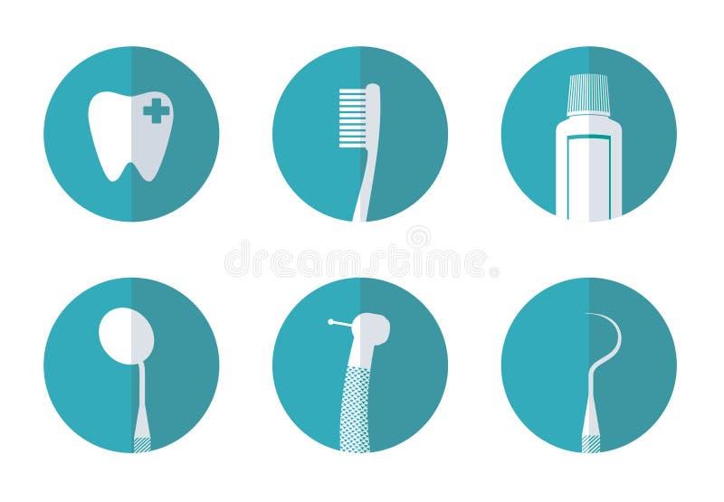 Icono plano del concepto del dentista LOGOTIPO stock de ilustración