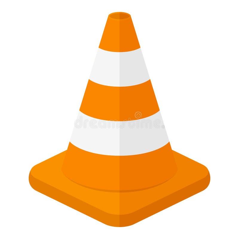 Icono plano del cono del tráfico aislado en blanco stock de ilustración