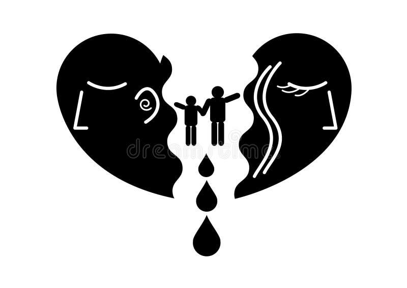 Icono plano del corazón del corazón quebrado en negro stock de ilustración