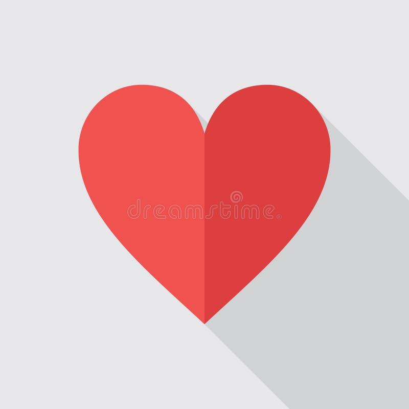 Icono plano del corazón rojo ilustración del vector