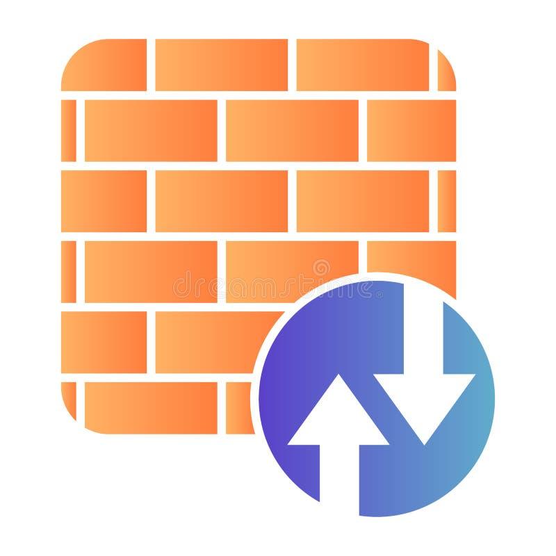 Icono plano del cortafuegos. Iconos de color de protección de red en estilo plano moderno. Diseño de degradado de seguridad en I imagenes de archivo