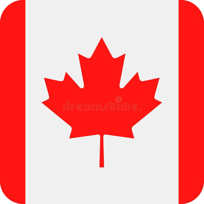 Icono plano del cuadrado del vector de la bandera de Canadá ilustración del vector