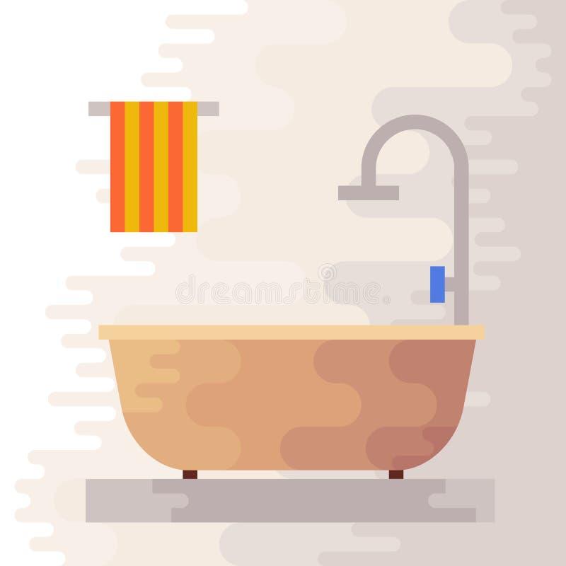 Elementos Planos Del Cuarto De Baño Ilustración del Vector ...
