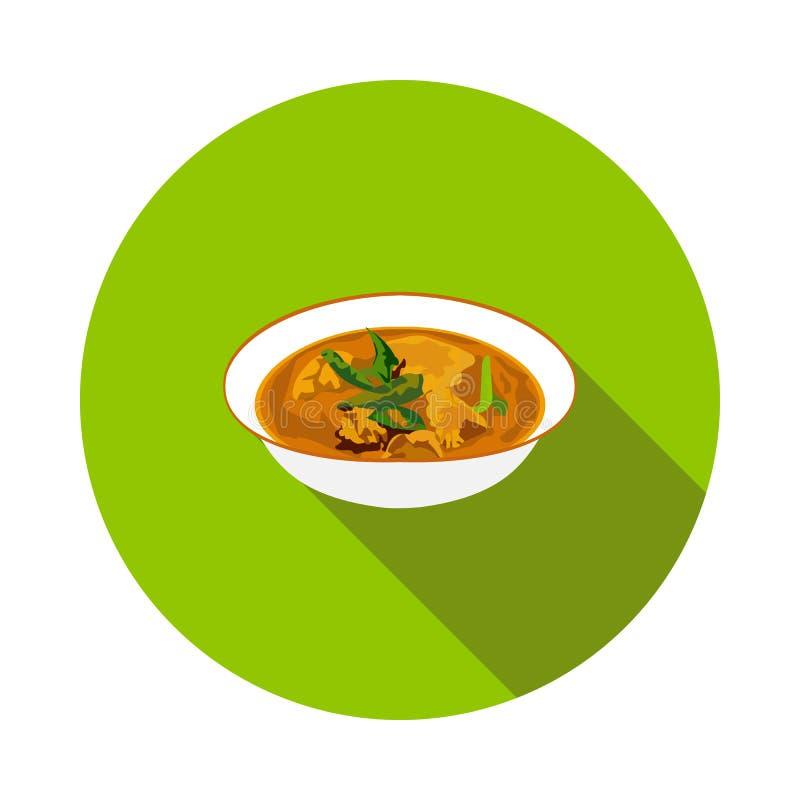 Icono plano del curry del pollo stock de ilustración