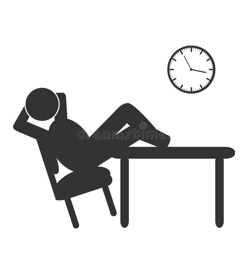 Icono plano del descanso para tomar café de la oficina de negocios en blanco stock de ilustración