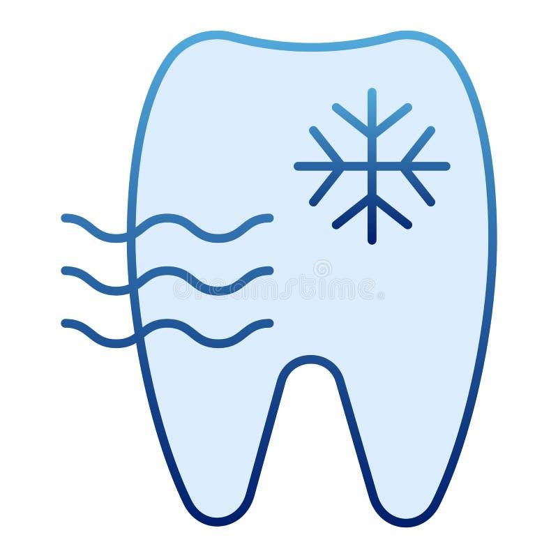 Icono plano del diente sensible Iconos azules del diente y del copo de nieve en estilo plano de moda Diseño del estilo de la pend libre illustration