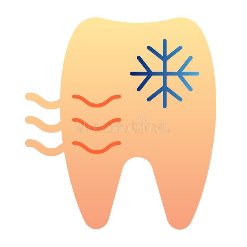 Icono plano del diente sensible Iconos del color del diente y del copo de nieve en estilo plano de moda Diseño del estilo de la p ilustración del vector
