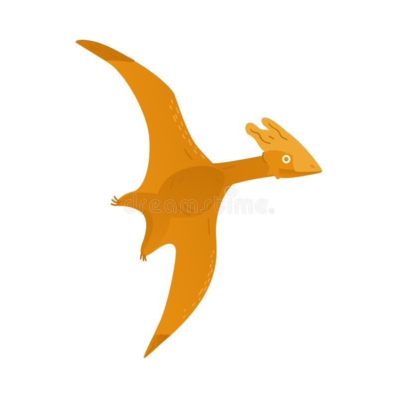 Icono plano a del dinosaurio del pterodáctilo del pteranodon del vector ilustración del vector