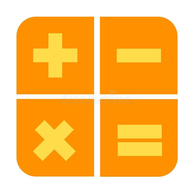 icono plano del diseño de la calculadora amarillo y anaranjado stock de ilustración