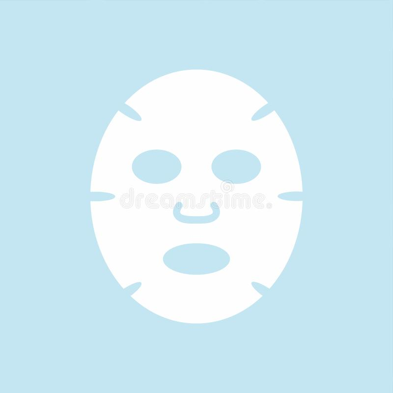 Icono plano del diseño de la máscara facial Medicina, cosmetología y atención sanitaria stock de ilustración