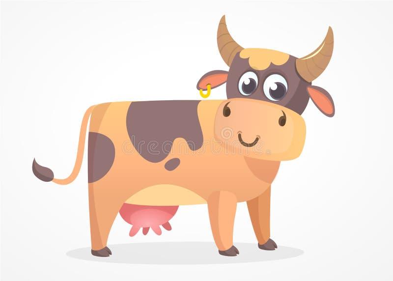 Icono plano del diseño de la vaca de la historieta aislado en el fondo blanco Vaca de la historieta Animales del campo ilustración del vector