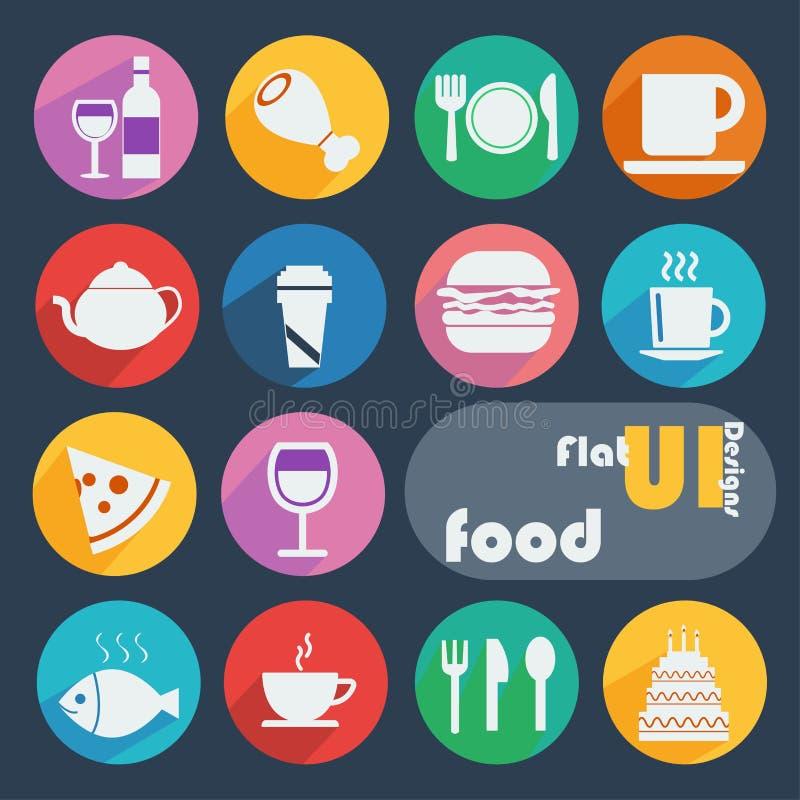 Icono plano del diseño fijado - comida stock de ilustración