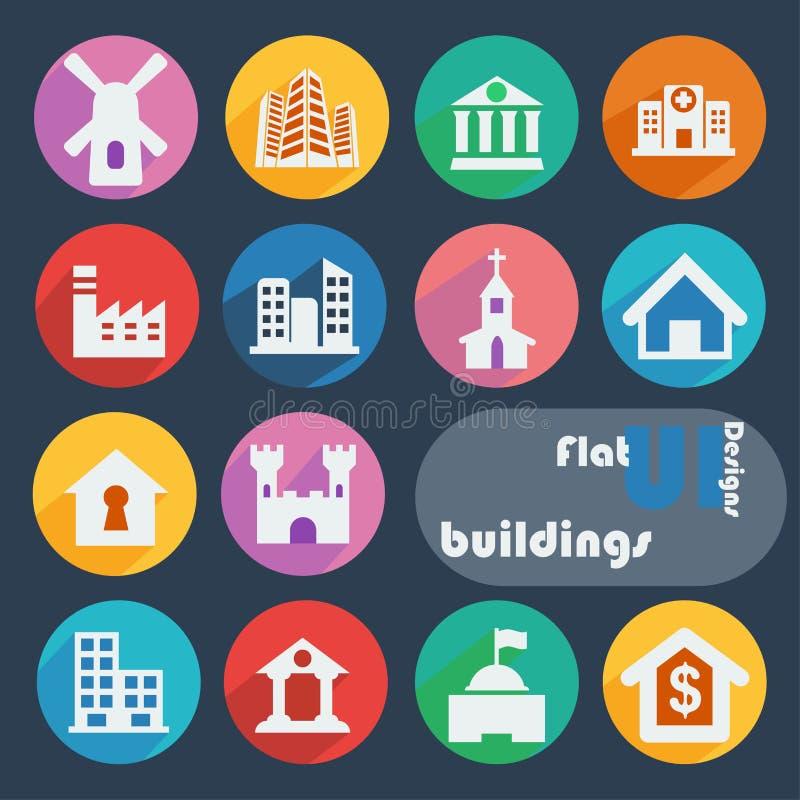 Icono plano del diseño fijado - edificios stock de ilustración