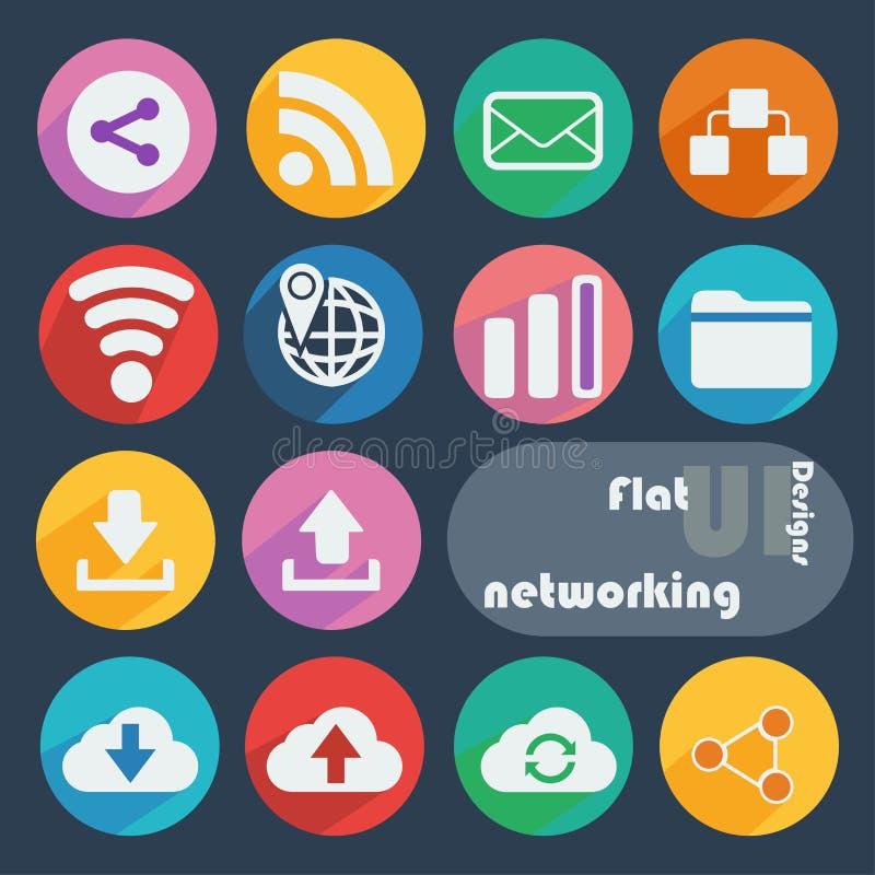 Icono plano del diseño fijado - establecimiento de una red libre illustration