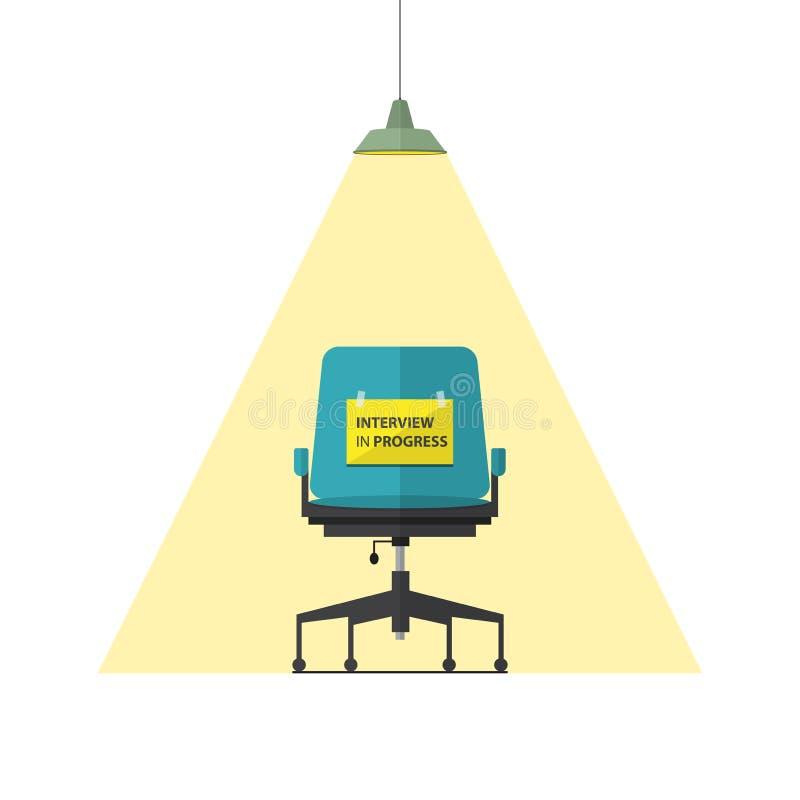 Icono plano del diseño para la silla del negocio con el mensaje en curso de la entrevista en el papel stock de ilustración
