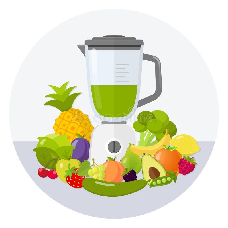 Icono plano del diseño del smoothie verde de la licuadora libre illustration