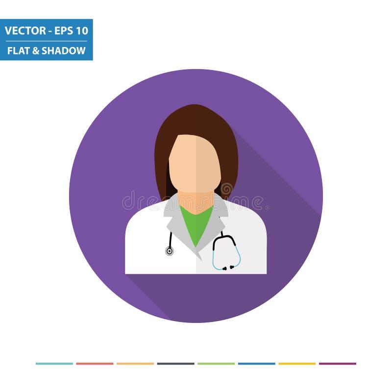 Icono plano del doctor de sexo femenino ilustración del vector