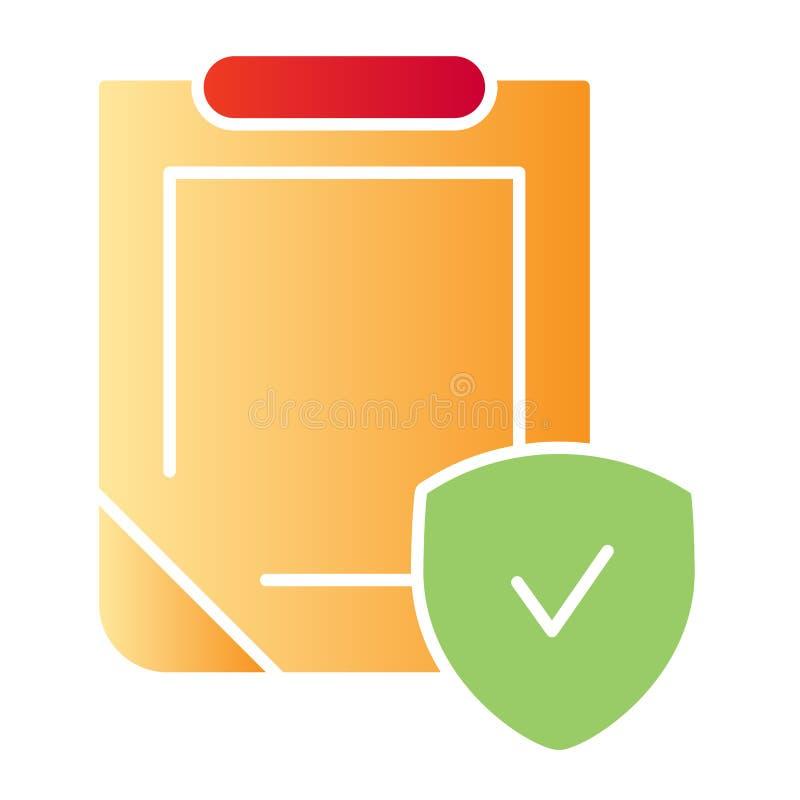 Icono plano del documento de la seguridad Tablero con los iconos del color del escudo en estilo plano de moda Estilo de la pendie libre illustration