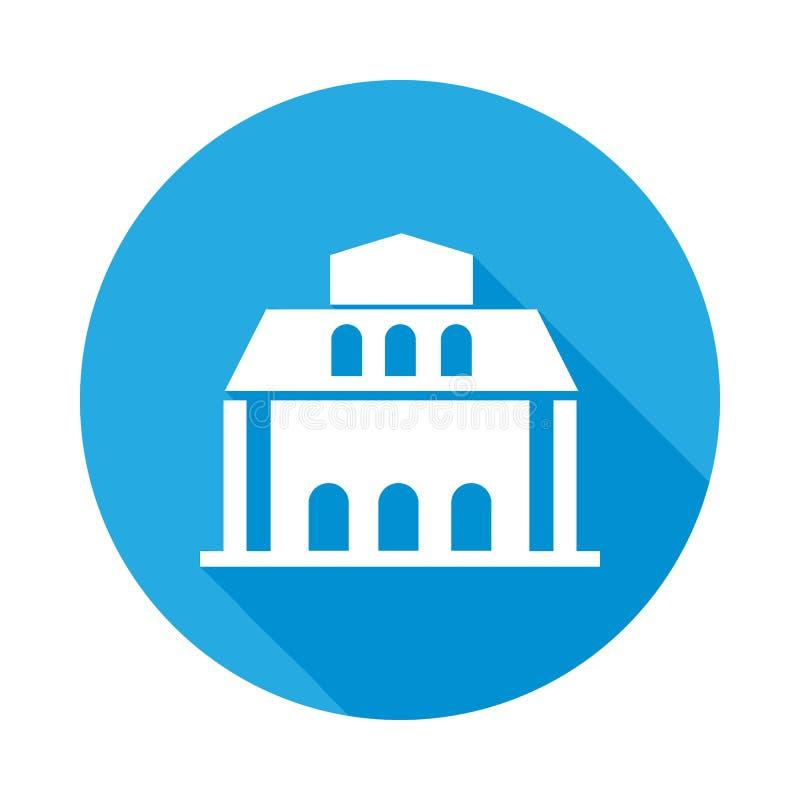 icono plano del edificio de biblioteca con la sombra larga ilustración del vector