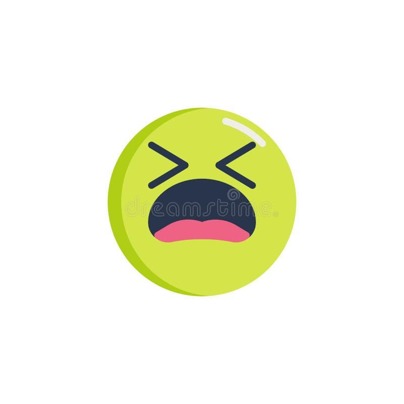 Icono plano del emoticon cansado de la cara ilustración del vector