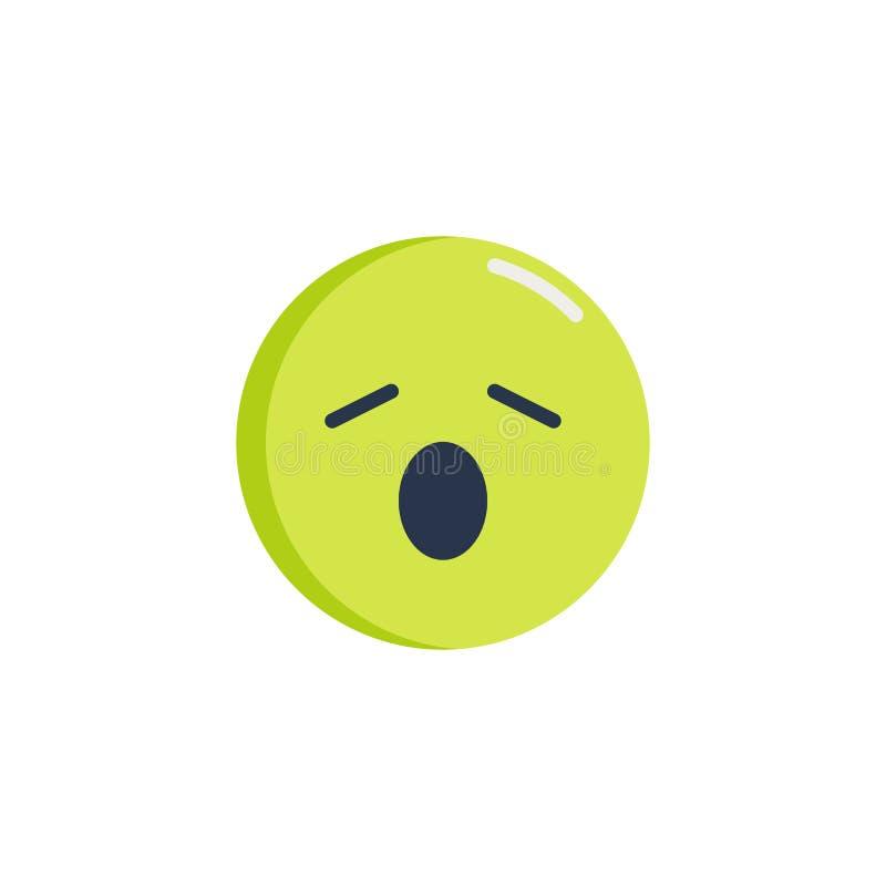 Icono plano del emoticon cansado de la cara stock de ilustración