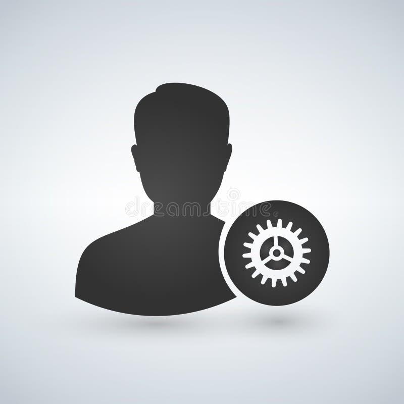 Icono plano del engranaje de las configuraciones del usuario Estilo plano del icono para el diseño del uso ilustración del vector