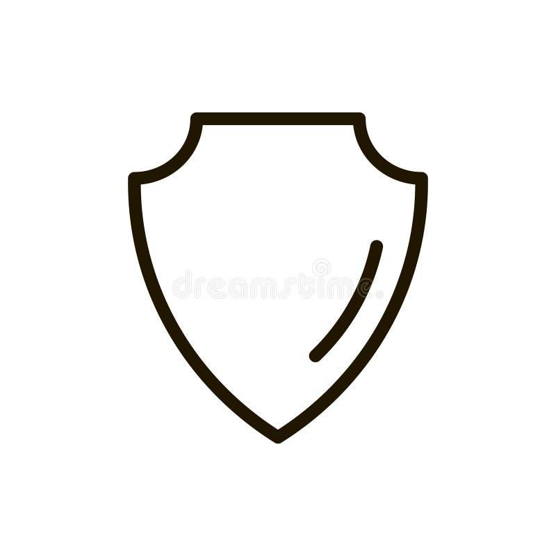 Icono plano del escudo stock de ilustración