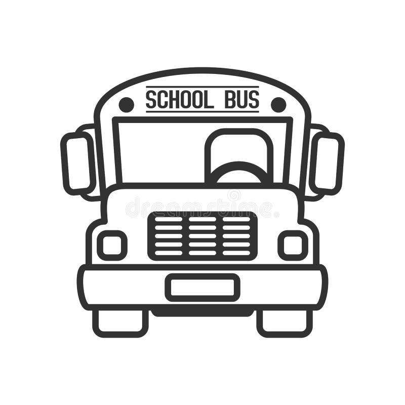 Icono plano del esquema del autobús escolar en blanco stock de ilustración