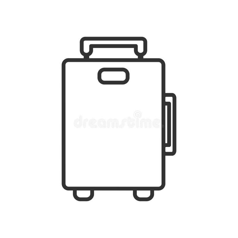 Icono plano del esquema del bolso de la maleta en blanco stock de ilustración