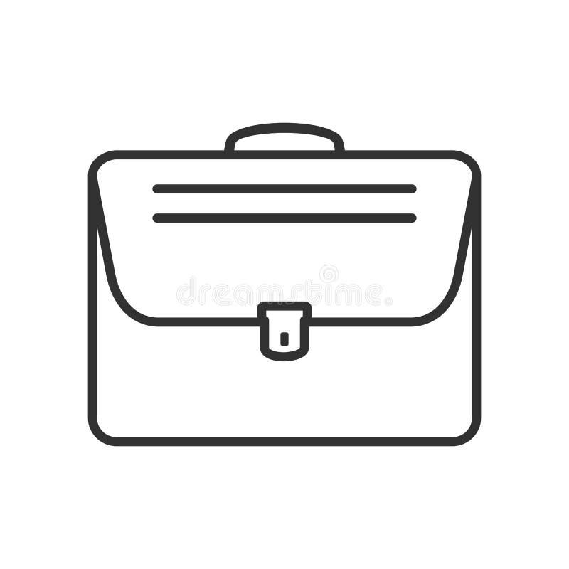 Icono plano del esquema del bolso de noche en blanco stock de ilustración