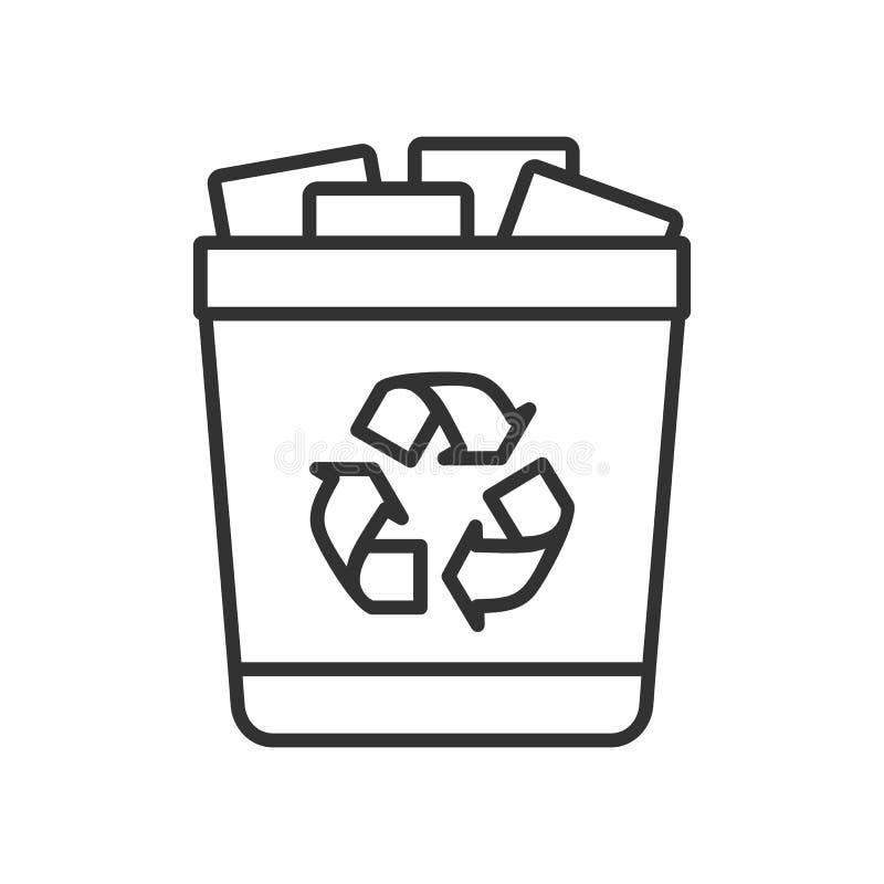 Icono plano del esquema completo del bote de basura en blanco stock de ilustración