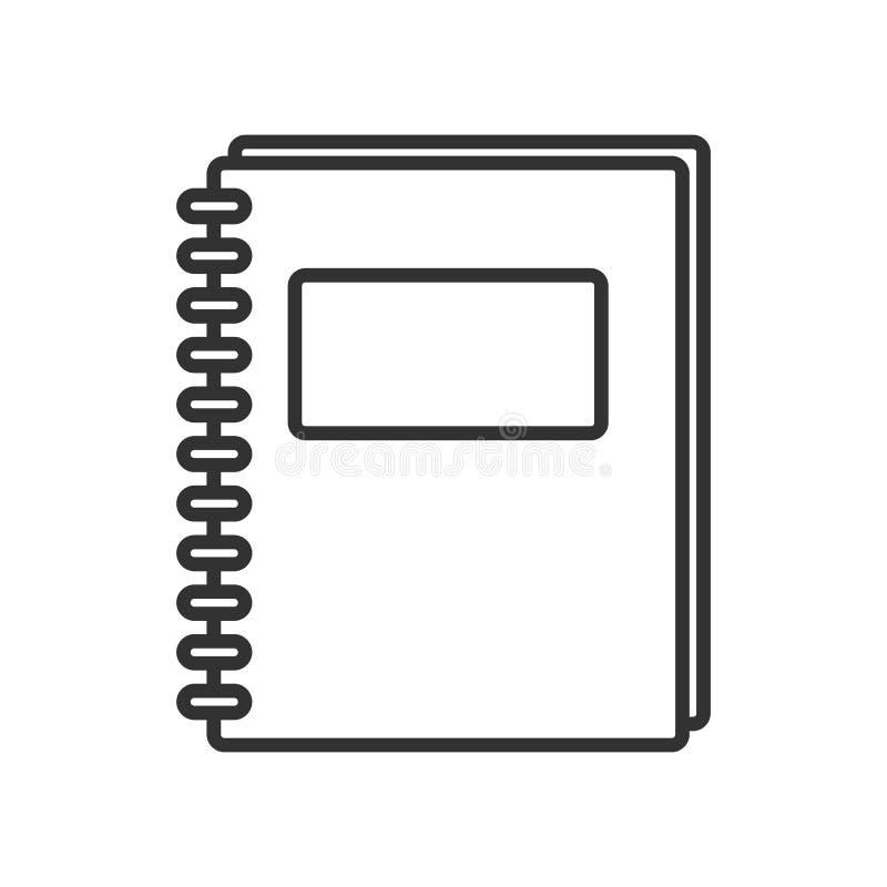 Icono plano del esquema del cuaderno de la escuela en blanco ilustración del vector