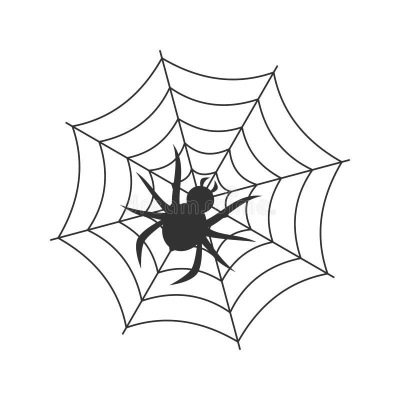 Icono plano del esquema de la araña y del web en blanco stock de ilustración