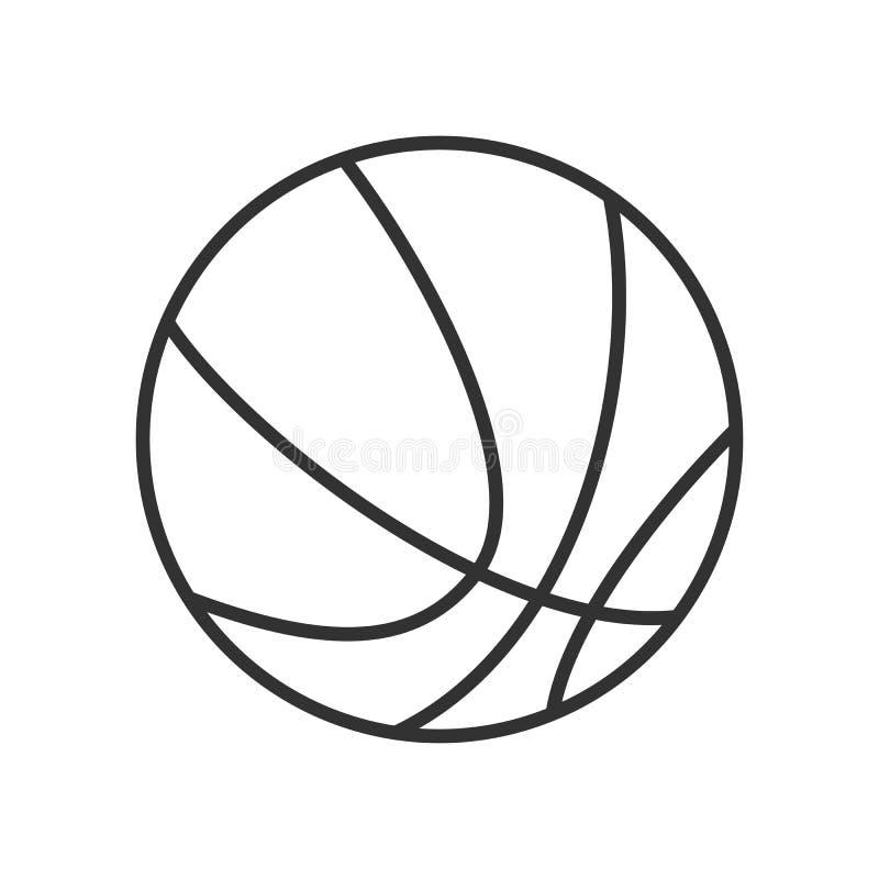 Icono plano del esquema de la bola del baloncesto en blanco stock de ilustración