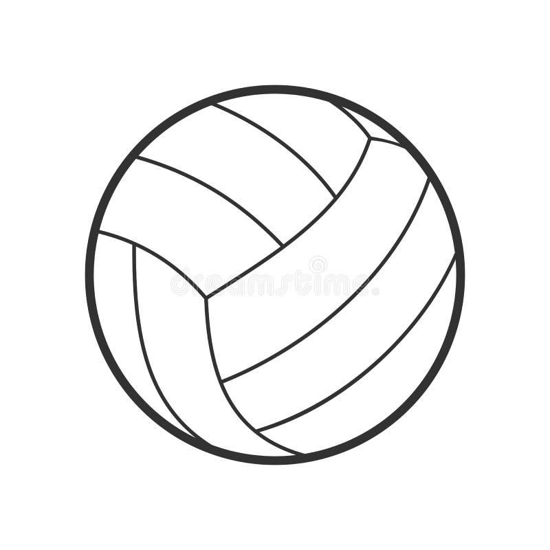 Icono plano del esquema de la bola del voleibol en blanco stock de ilustración