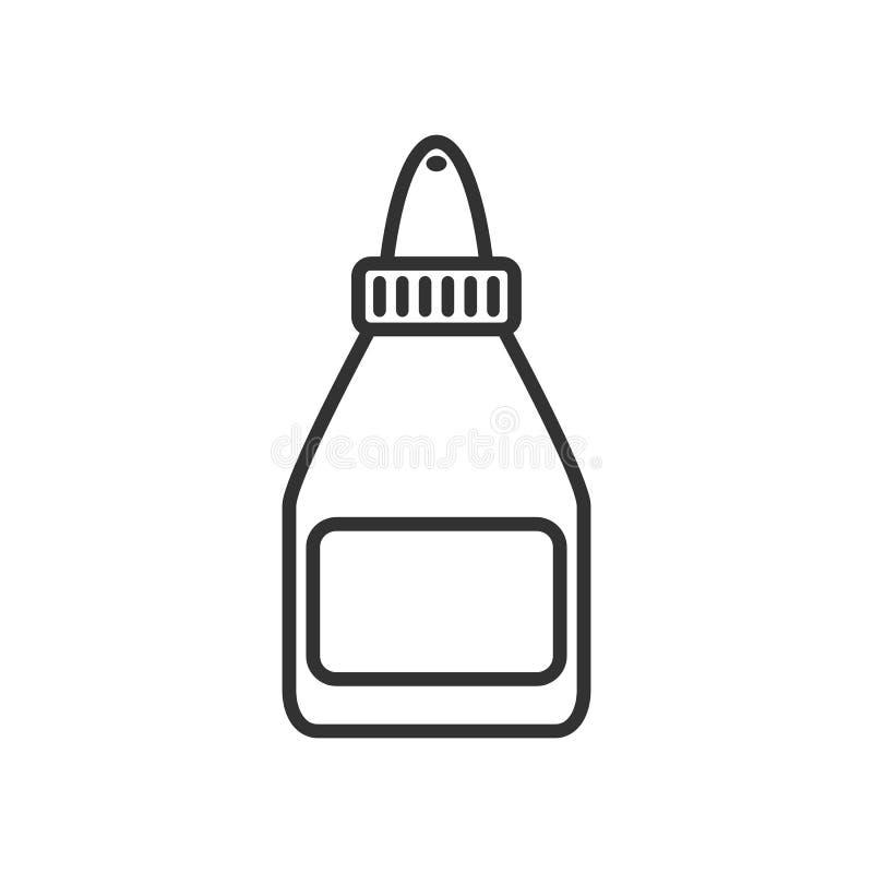 Icono plano del esquema de la botella del tubo del pegamento en blanco ilustración del vector